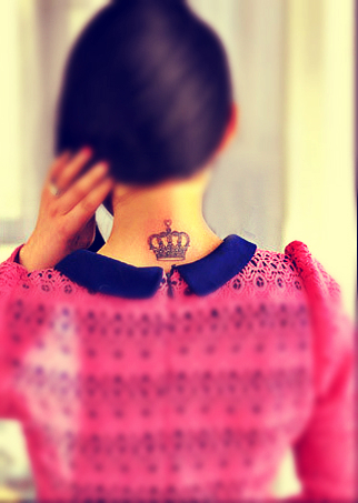 Crown tattoo design behind the neck