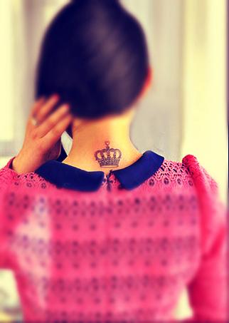 Crown tattoo design behind the neck