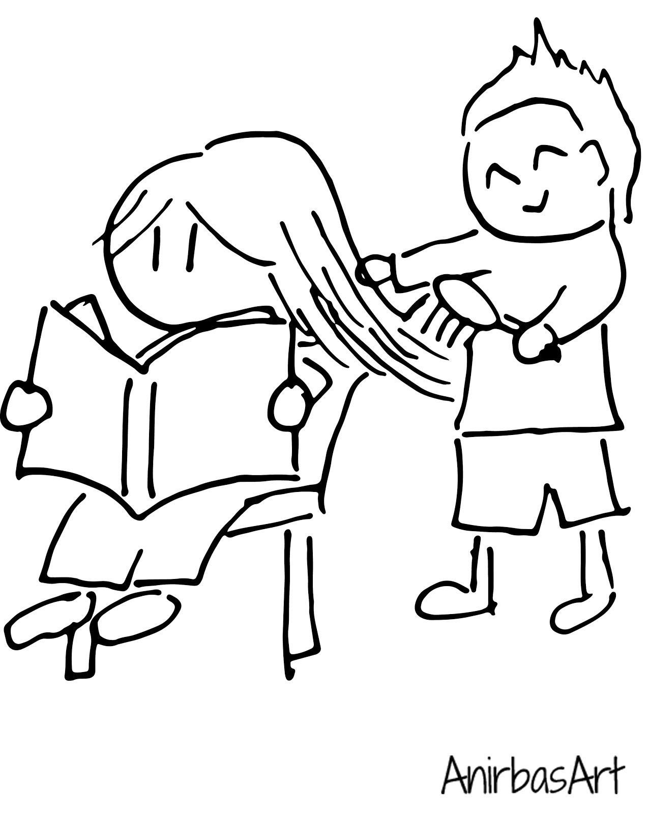 brushing hair coloring pages - photo#6