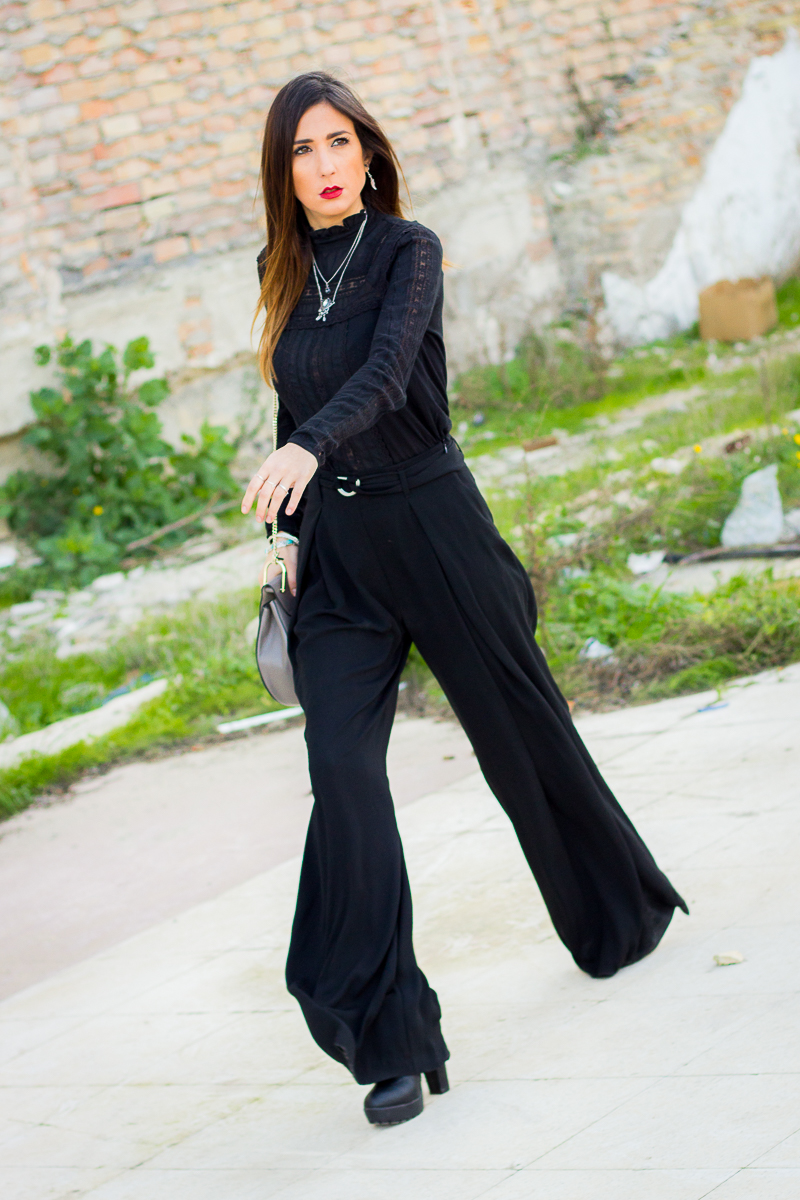 total black look, palazzo pants