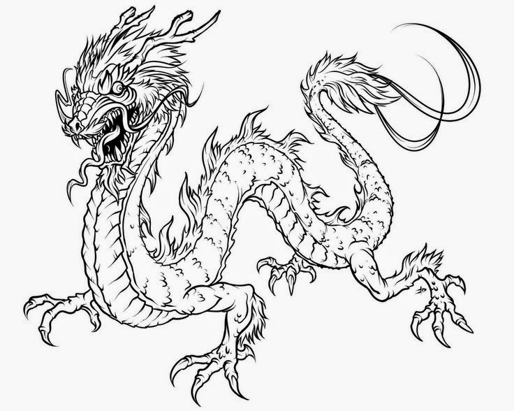 Decisive image with chinese dragon printable