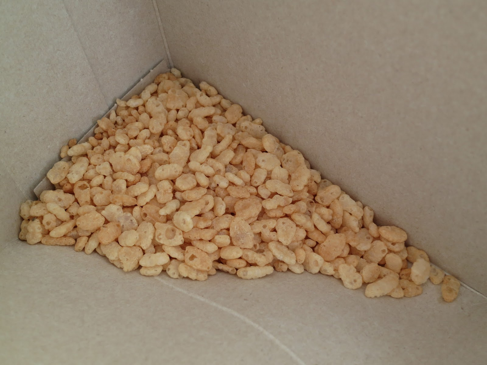 Rice Krispies left in a corner of the box