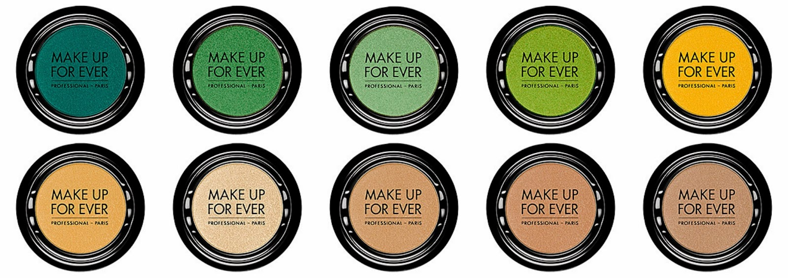 Make Up For Ever Artist Shadow Top from left: S404 Straw Yellow; S-502 White Sand; S506 Linen; S516 Sand; S522 Pinky Nude  Bottom from left: S234 Azure Blue; S312 Mint Green; S314 Nile Green; S336 Lime; S402 Mimosa