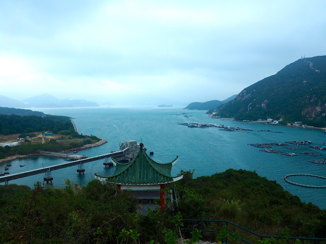View of the harbour at Sok Kwu Wan, and Hong Kong island in the distance, from the Family Trail walk, Lamma Island, Hong Kong