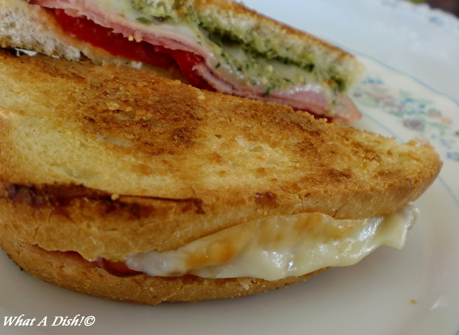 What A Dish!: Grilled Roasted Red Pepper & Ham Sandwich