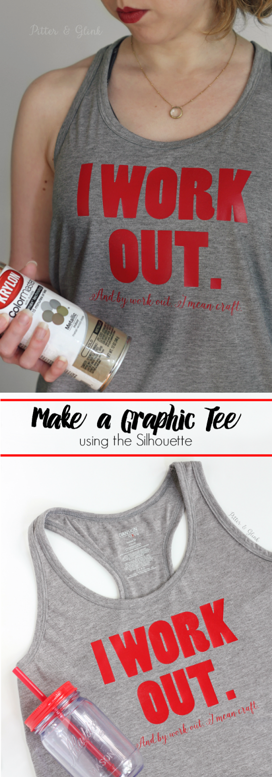 Make a graphic tee using the Silhouette and heat transfer vinyl. www.pitterandglink.com