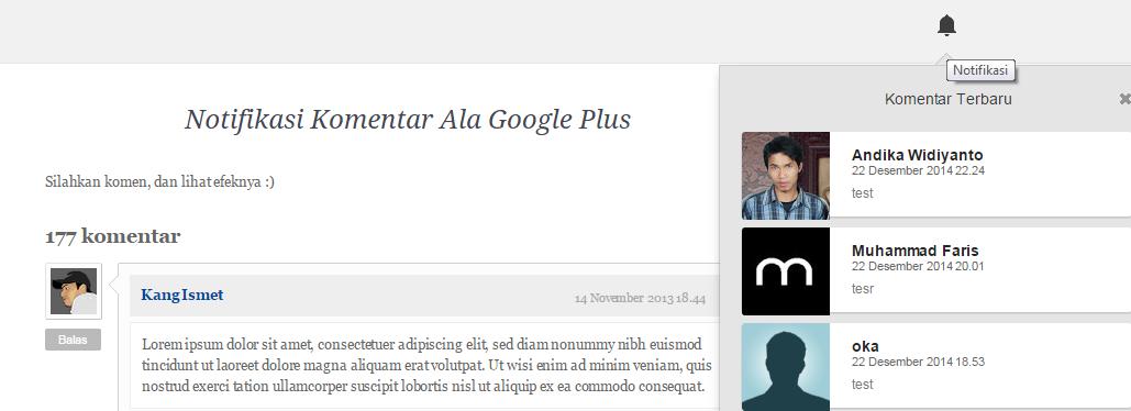 Cara Terbaru Membuat Notifikasi Komentar Blog Google Plus