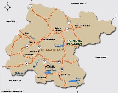 Map of Guanajuato City Area