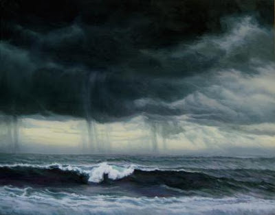 Katherine Kean, Grey Surf Under Summer Storm, dark grey sky, ocean, wave, Hawaii