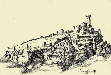Reconstrucció del Castellvell o Castell de Sant Jaume segons un dibuix de Jaume Amat de 1987