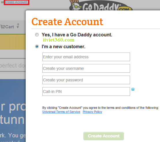 Create Account Godaddy