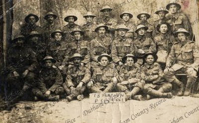 13 Platoon, 'D' Company, 2nd Battalion, Durham Light Infantry, taken behind the line at Loos, France, 1917 (D/DLI 7/426/155)