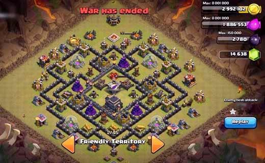 Contoh Layout Base War Clash Of Clans (COC) Defense Anti Naga dan ...