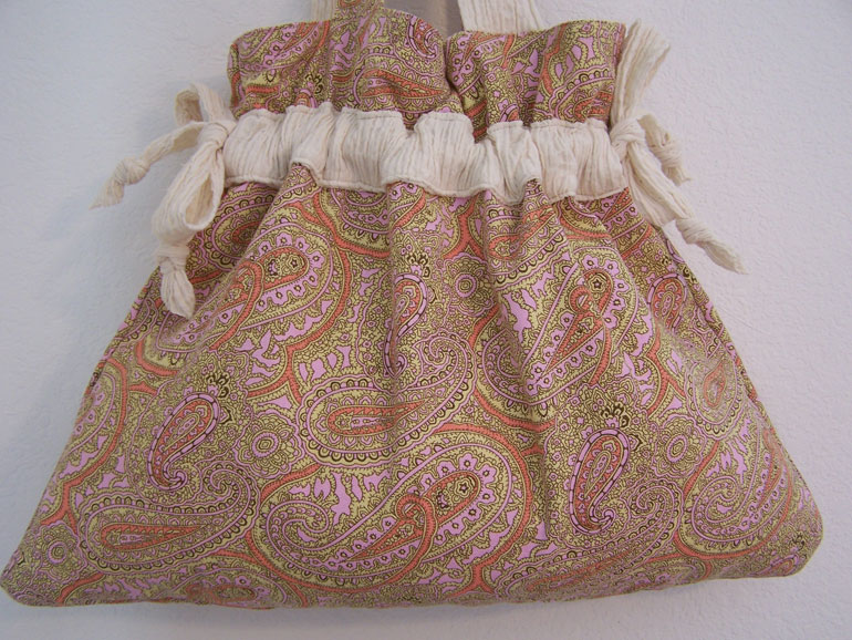 Handmade Drawstring Purse Handbag Antique White Paisley Pattern