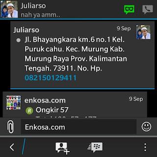 Konfirmasi alamat lengkap Juliarso di enkosa sport toko online terpercaya lokasi di jakarta pasar tanah abang