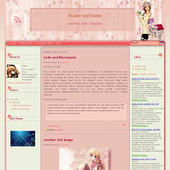 Flower Girl blogger templat. girly blogger template