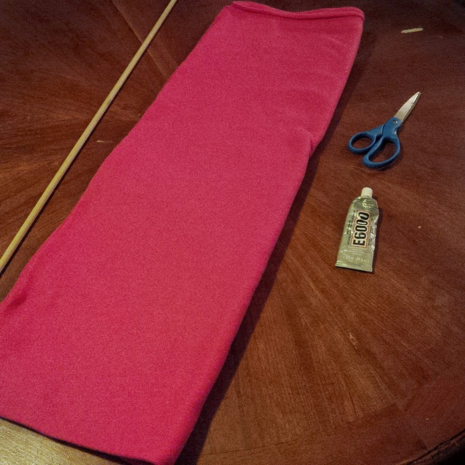 Fleece, wooden dowel rod, fabric glue, scissors for Keepers of the Faith Banner