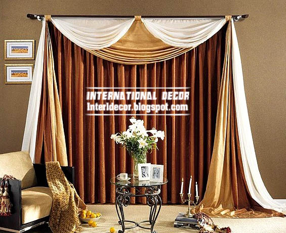 Best Curtain Models 2013, Unique Draperies, Brown Living Room Curtain Model Part 7