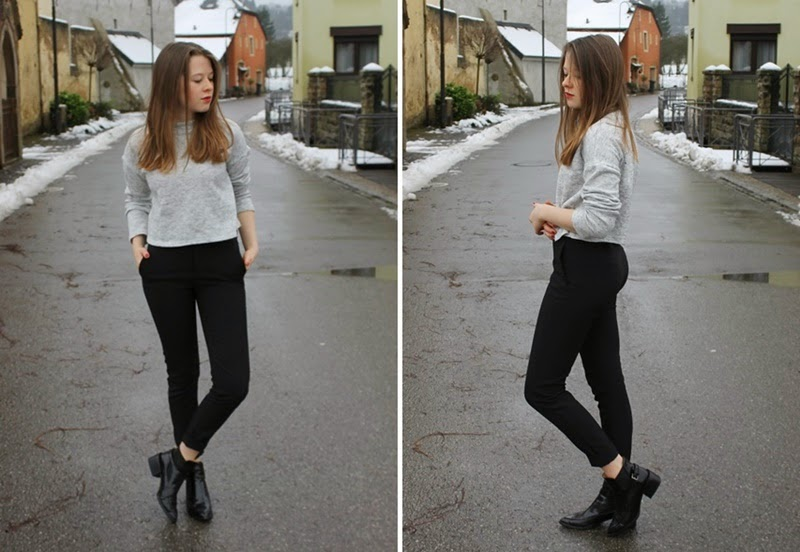 ootd, outfit, outfit of the day, wiwt, what i wore today, winter, snow, luxembourg, uk, brighton, style, fashion, trend, pointy, turtleneck, crewneck, grey, black, shiny, zara, new look, primark, blogger, fashion blogger, brunette, lipstick, red, simple, basics