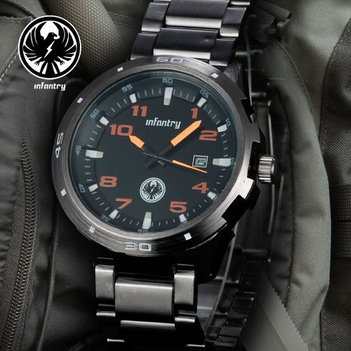 INFANTRY Sport Gunmetal Black Quartz Mens Watch Stainless Steel Date Display New
