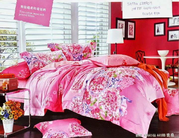Sprei Satin Jepang Motif Bunga Pink
