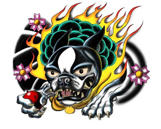 Foo dog boston terrier tattoo design