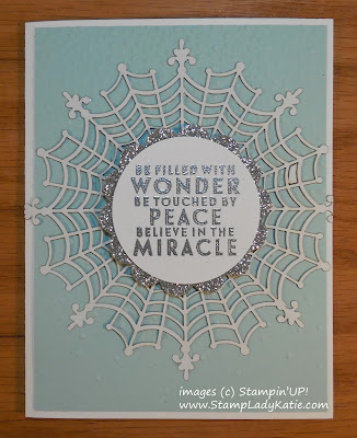 Christmas Card made with Stampin'UP! Spider Web Doilies used as a Snowflake