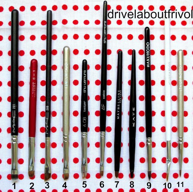 brush comparison  MAC 231, 266 Chikuhodo Artist Red 6-1 Hakuhodo S162, 007, 5531 Shu Uemura 6OB, 4F Maybelline gel eyeliner KATE gel eyeliner Sonia Kashuk Bent Eyeliner