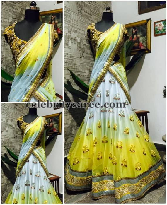 White and Lemon Yellow Half Sari