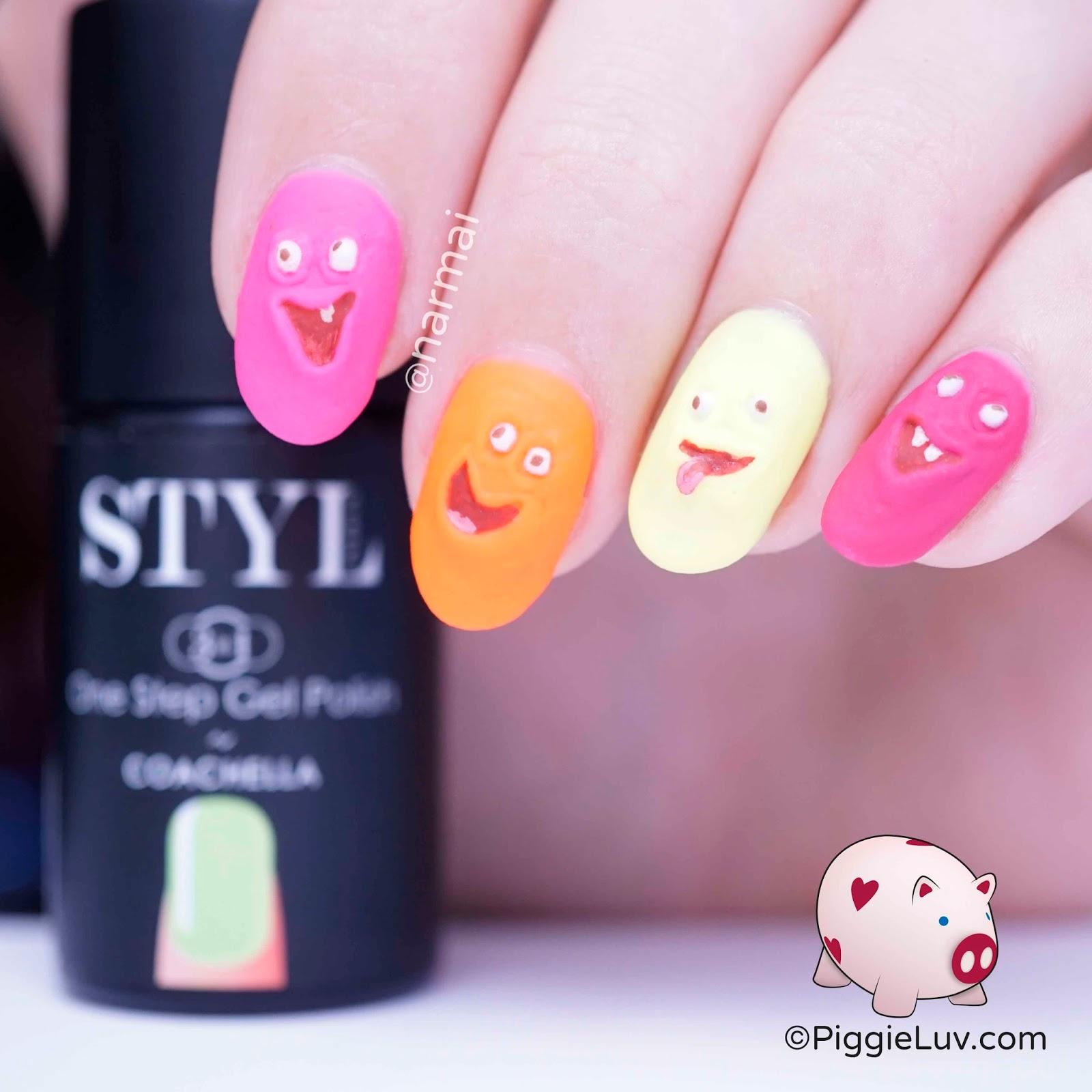 Piggieluv Rainbow Bubbles Nail Art: PiggieLuv: Funny Faces Nail Art