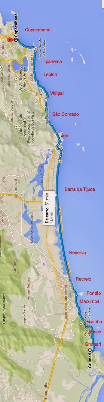 Mapa das praias do Rio de Janeiro.