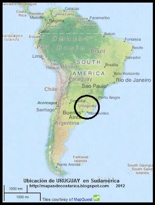 Ubicacion de URUGUAY en Sudamerica, OpenStreetMap