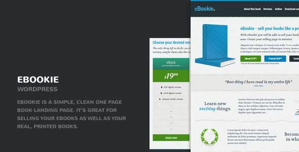 eBookie – One Page WordPress Theme with Blog