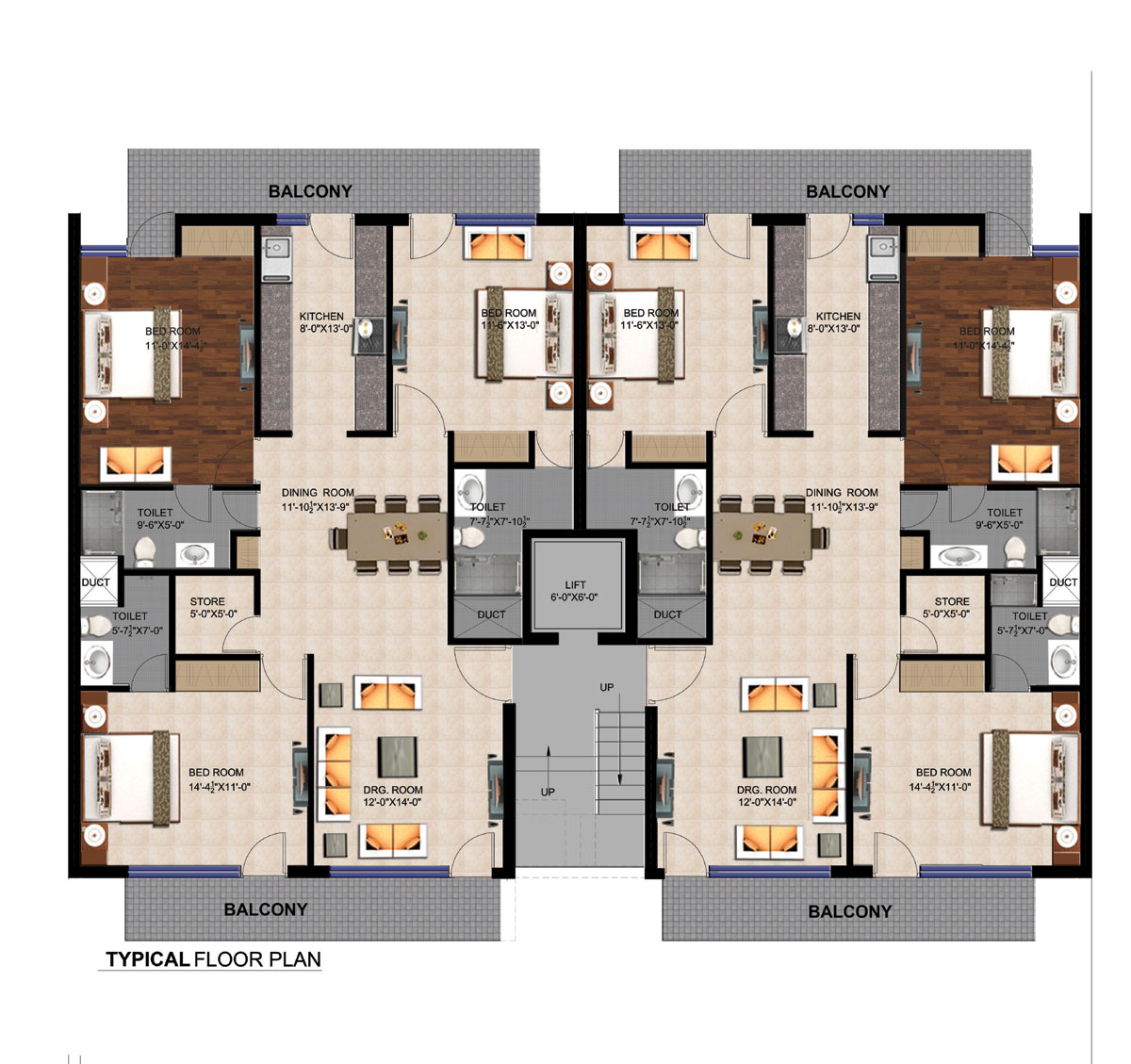 Residential property in mullanpur mullanpur property 4 floor apartment plan