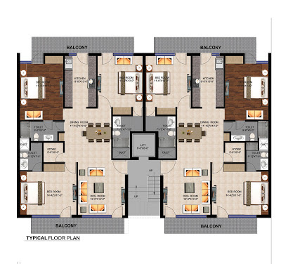 3BHK Floor Plan In Mullanpur, Manohar singh & Co. Palm Apartments