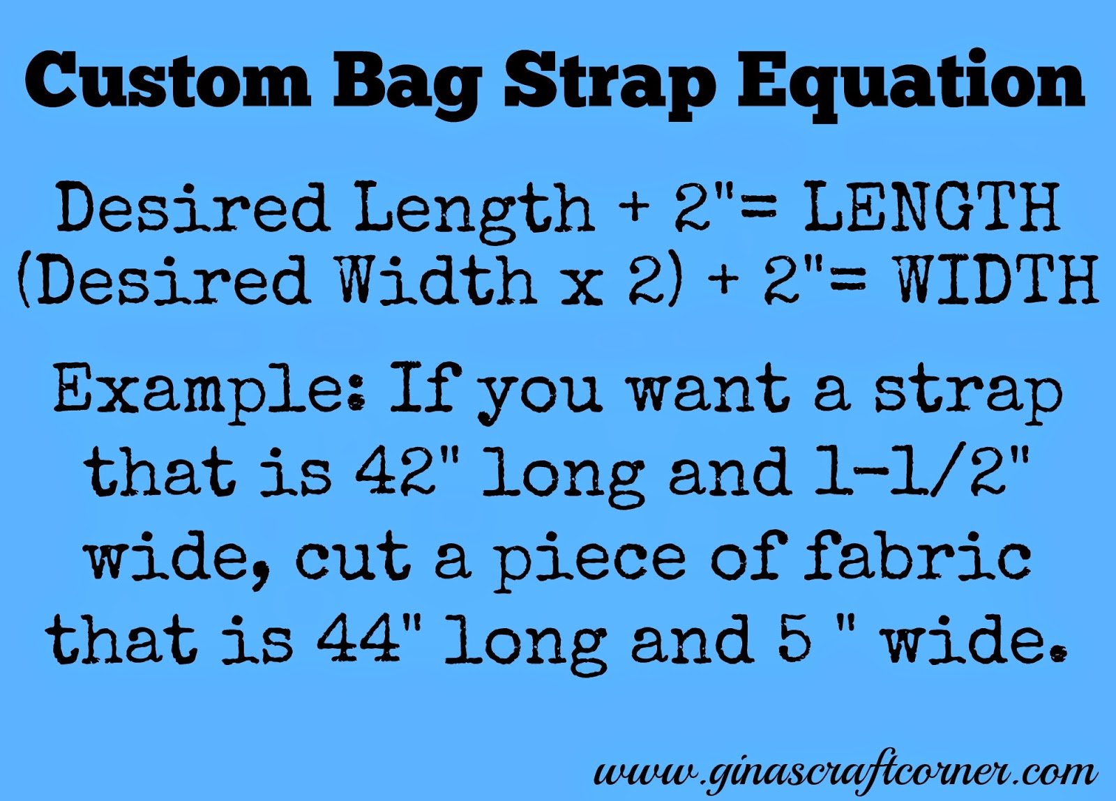 Custom Bag Strap Equation by Ginas Craft Corner