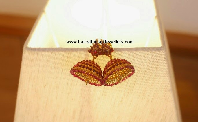 Gorgeous Ruby Gold Jhumkas
