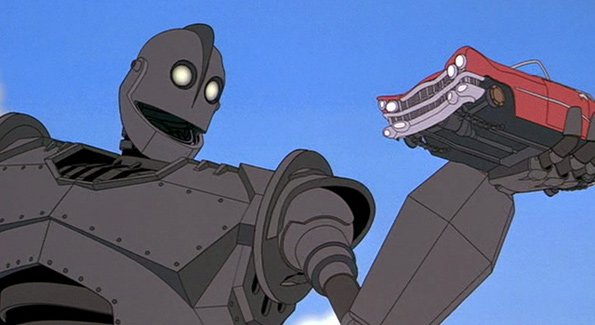 The giant holding a car in The Iron Giant