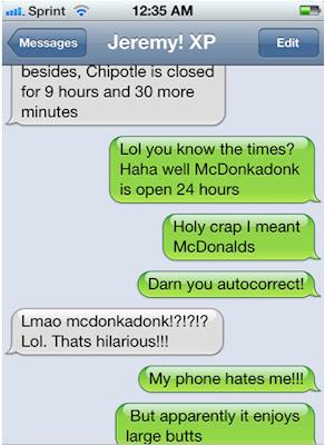 Funny McDonald's auto-correct