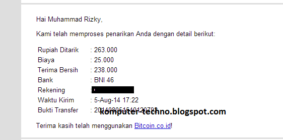 Bukti pembayaran Withdraw ke bank local dari vip.bitcoin.co.id