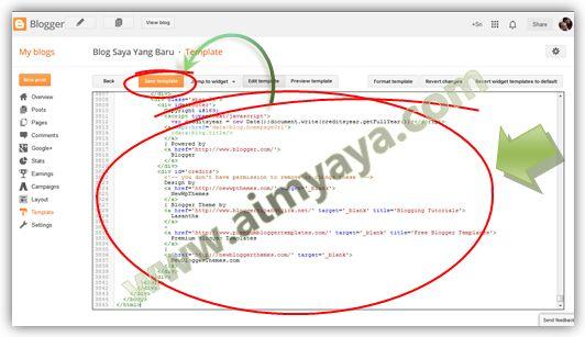 Gambar: Mengganti kode template blog dengan yang baru