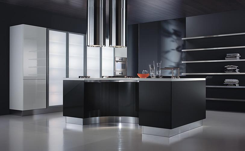 Mi casa mi hogar cocinas modernas en blanco y negro for Cocinas en linea recta