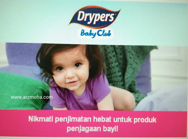 drypers, drypers baby club, tebus lampin percuma, tebus dengan point terkumpul, arzmohadotcom, parenting, tips,