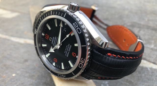 Mike's Omega Planet Ocean on SuperMatte Carbon Black Teju Lizard strap
