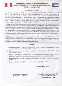 CONVOCATORIA AL XIII ENCUENTRO DE SOLIDARIDAD CON CUBA, CHICLAYO - PERÚ, 17, 18 y 19 DE AGOSTO 2012