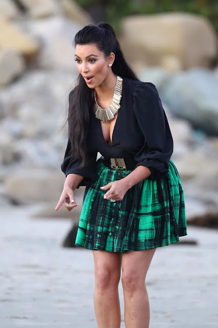 Kim Kardashian at the Beach in Los Angeles