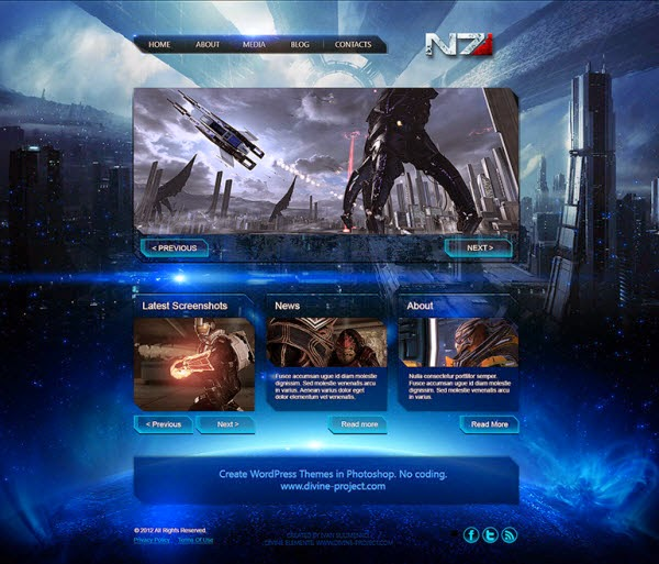 Mass Effect 3 Game Template PSD