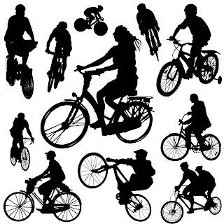 Siluetas de personas en bicicleta para diseñadores