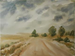 Lluvia,  Acuarela