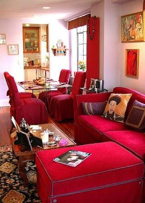 Decoraci n de salones de color rojo casas decoracion for Decoracion casa rojo